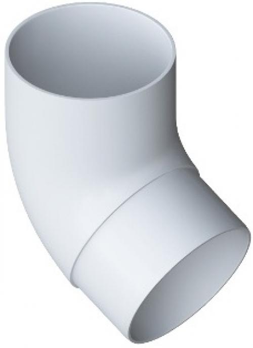 Колено трубы 67° ПВХ, цвет Белый